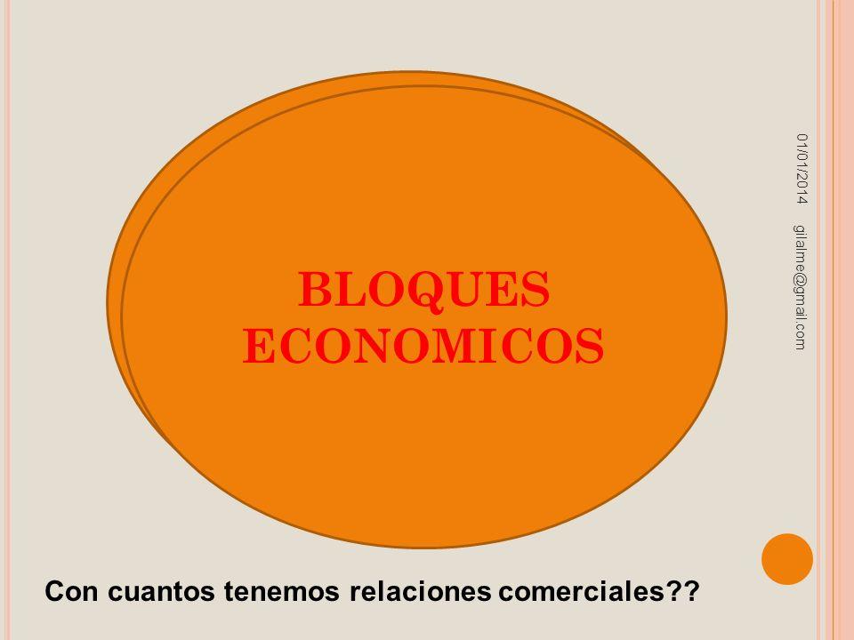 01/01/2014 gilalme@gmail.com BLOQUES ECONOMICOS Con cuantos tenemos relaciones comerciales??