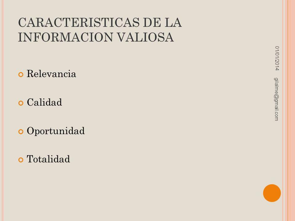 CARACTERISTICAS DE LA INFORMACION VALIOSA Relevancia Calidad Oportunidad Totalidad 01/01/2014 gilalme@gmail.com