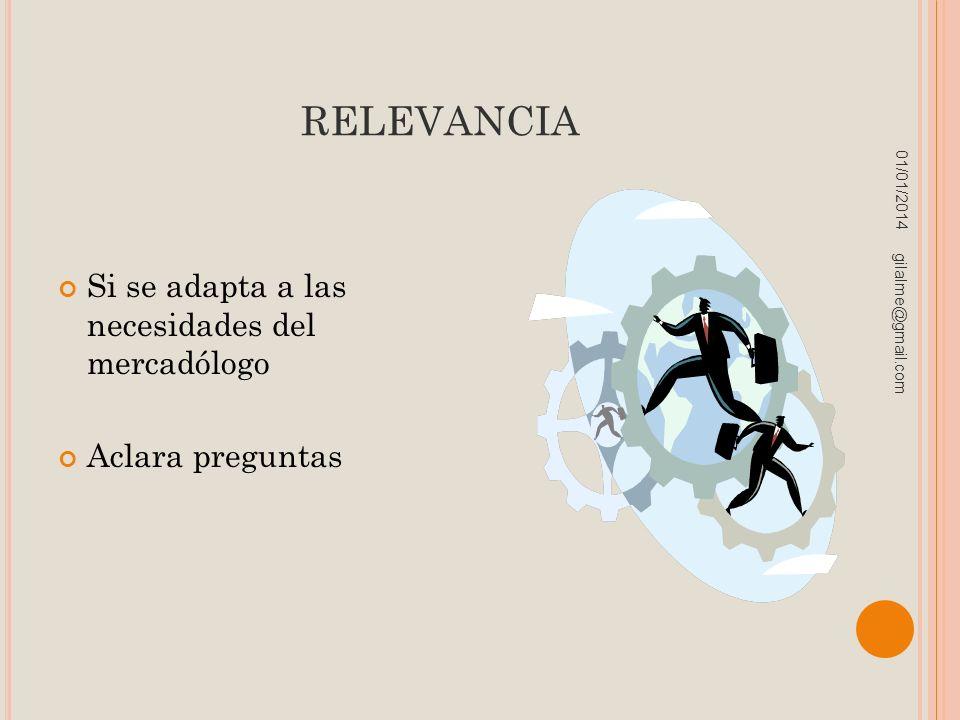 RELEVANCIA Si se adapta a las necesidades del mercadólogo Aclara preguntas 01/01/2014 gilalme@gmail.com