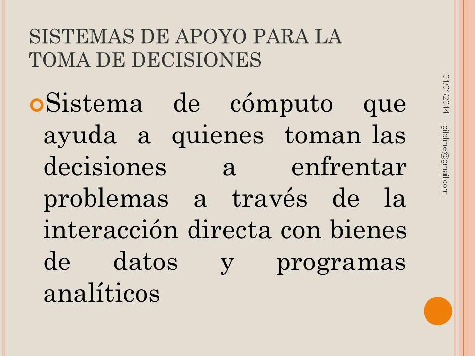 SISTEMAS DE APOYO PARA LA TOMA DE DECISIONES Sistema de cómputo que ayuda a quienes toman las decisiones a enfrentar problemas a través de la interacc