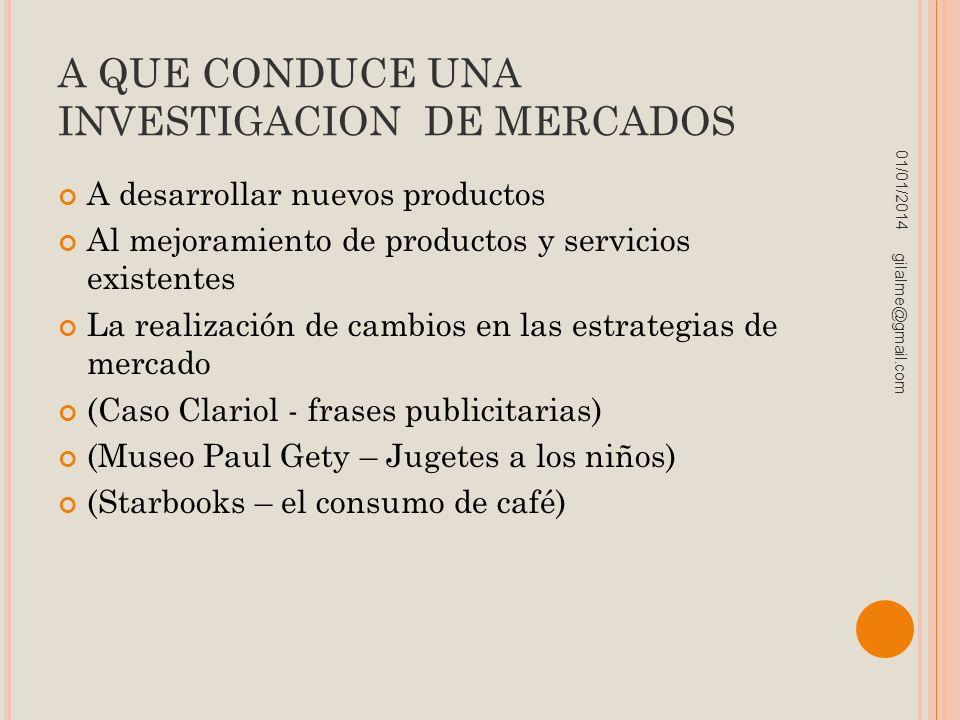 A QUE CONDUCE UNA INVESTIGACION DE MERCADOS A desarrollar nuevos productos Al mejoramiento de productos y servicios existentes La realización de cambi