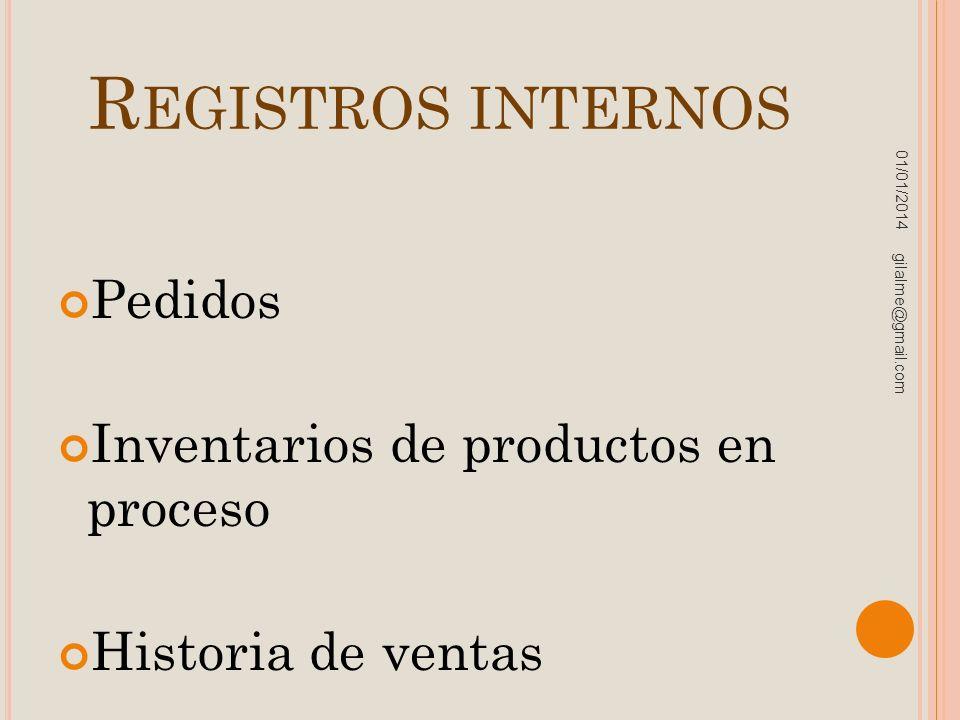 R EGISTROS INTERNOS Pedidos Inventarios de productos en proceso Historia de ventas 01/01/2014 gilalme@gmail.com