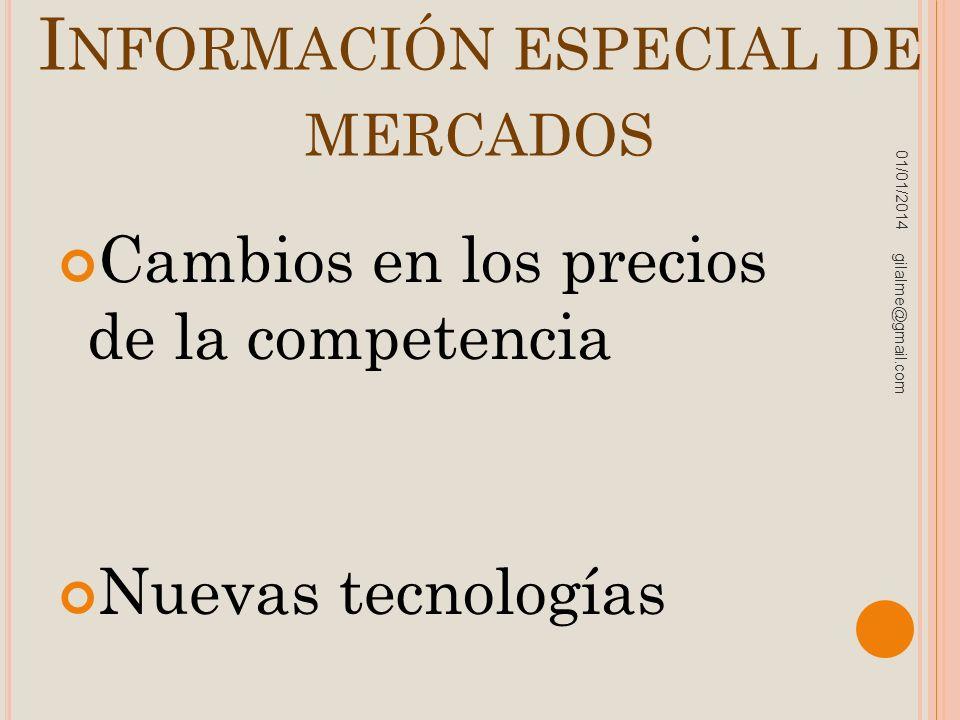 I NFORMACIÓN ESPECIAL DE MERCADOS Cambios en los precios de la competencia Nuevas tecnologías 01/01/2014 gilalme@gmail.com