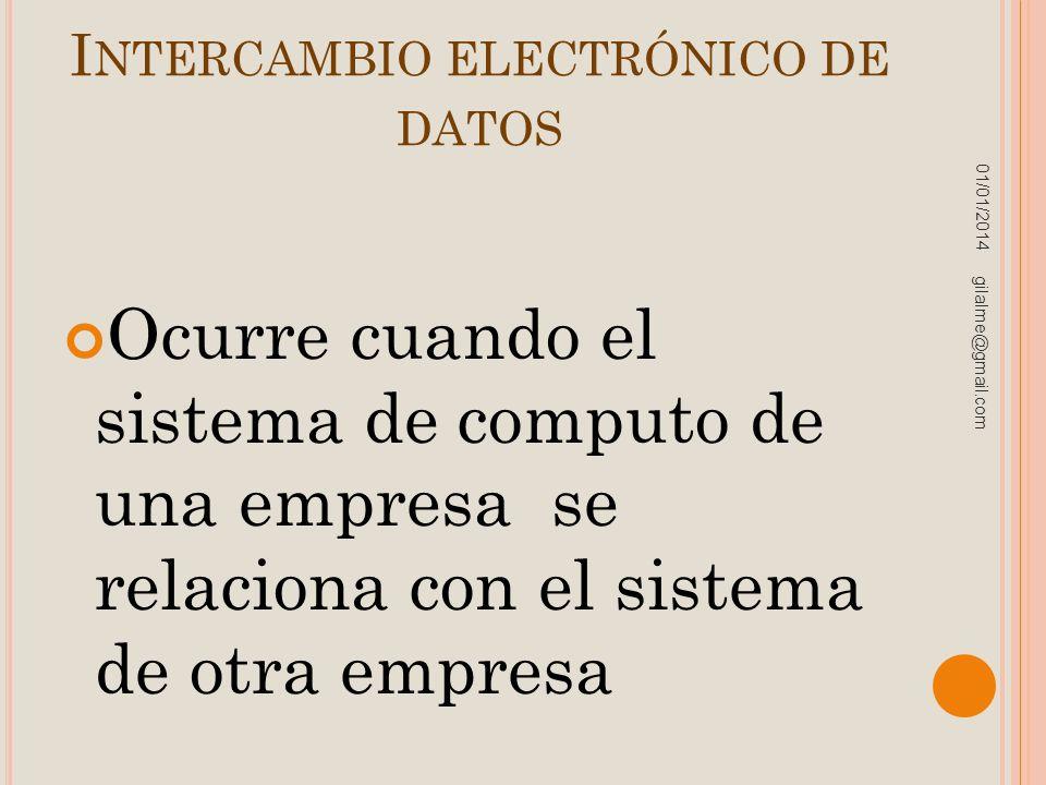 I NTERCAMBIO ELECTRÓNICO DE DATOS Ocurre cuando el sistema de computo de una empresa se relaciona con el sistema de otra empresa 01/01/2014 gilalme@gm