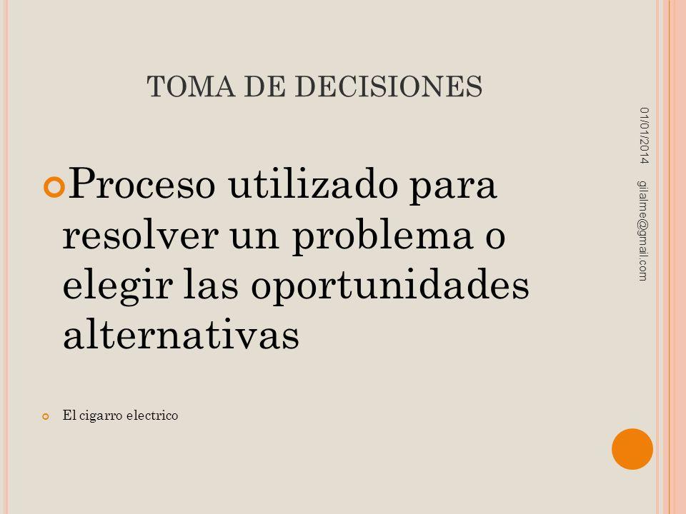 TOMA DE DECISIONES Proceso utilizado para resolver un problema o elegir las oportunidades alternativas El cigarro electrico 01/01/2014 gilalme@gmail.c