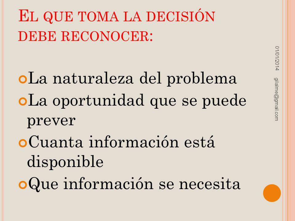 E L QUE TOMA LA DECISIÓN DEBE RECONOCER : La naturaleza del problema La oportunidad que se puede prever Cuanta información está disponible Que informa
