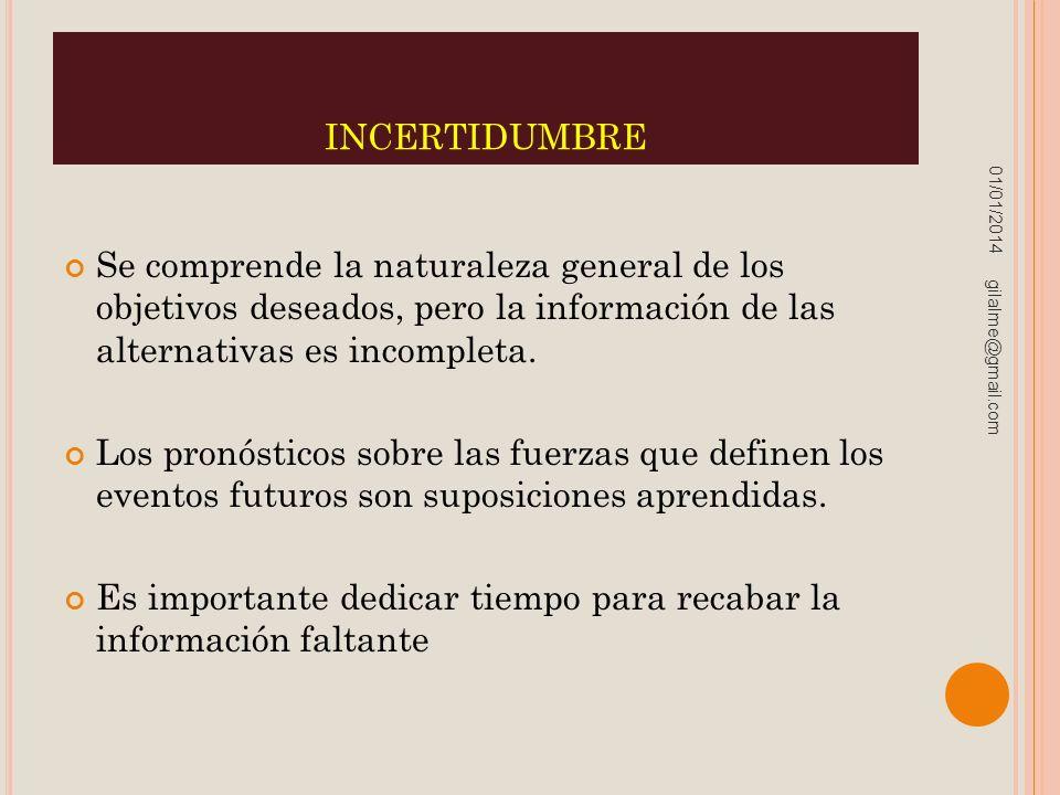 INCERTIDUMBRE Se comprende la naturaleza general de los objetivos deseados, pero la información de las alternativas es incompleta. Los pronósticos sob