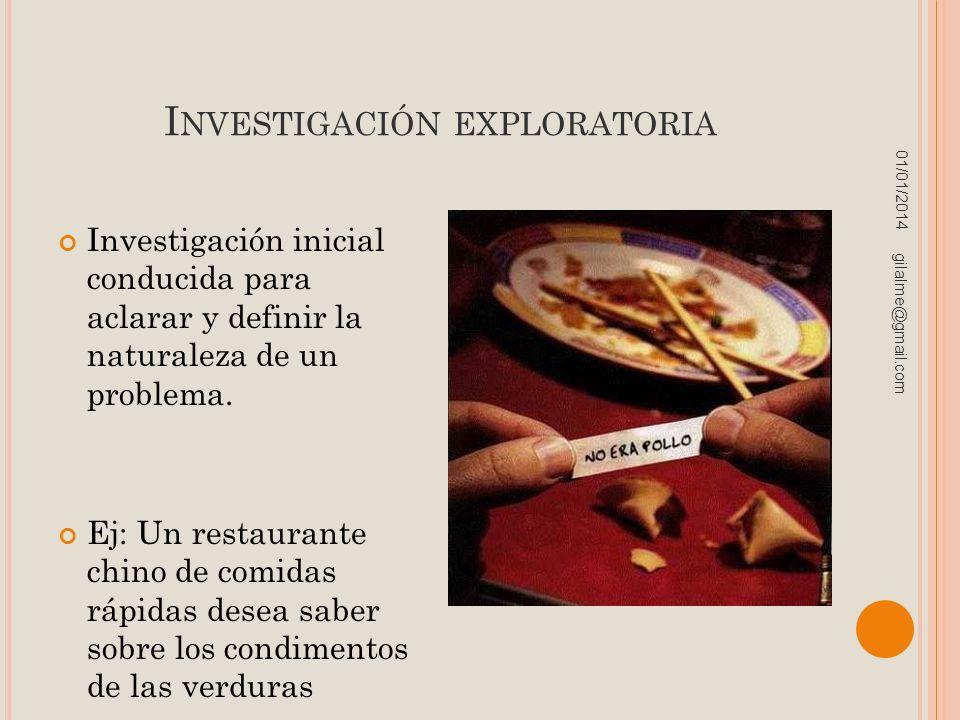I NVESTIGACIÓN EXPLORATORIA Investigación inicial conducida para aclarar y definir la naturaleza de un problema. Ej: Un restaurante chino de comidas r