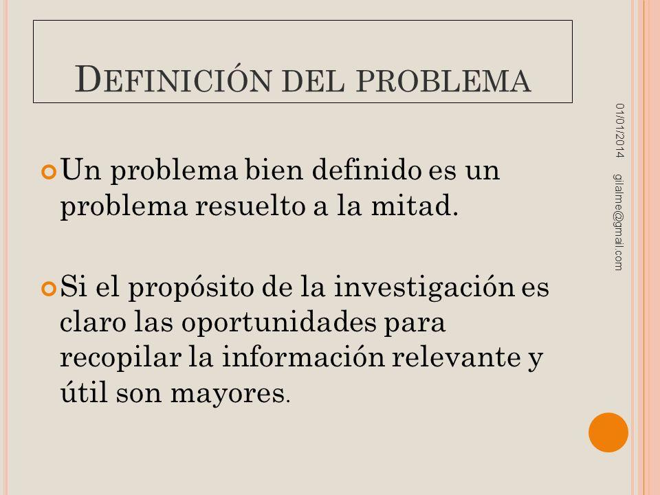 D EFINICIÓN DEL PROBLEMA Un problema bien definido es un problema resuelto a la mitad. Si el propósito de la investigación es claro las oportunidades