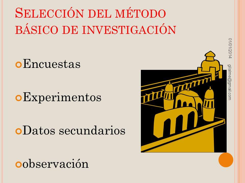 S ELECCIÓN DEL MÉTODO BÁSICO DE INVESTIGACIÓN Encuestas Experimentos Datos secundarios observación 01/01/2014 gilalme@gmail.com