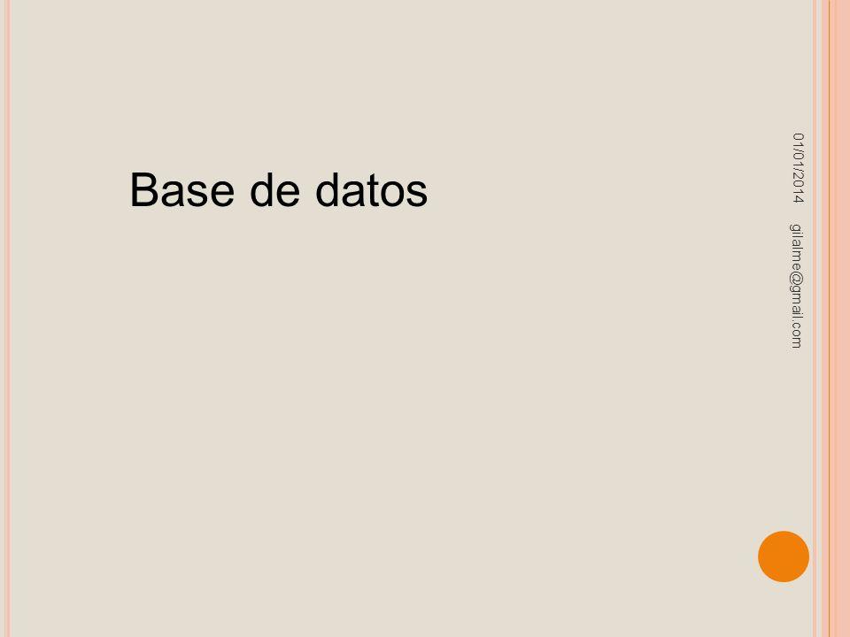 01/01/2014 gilalme@gmail.com Base de datos