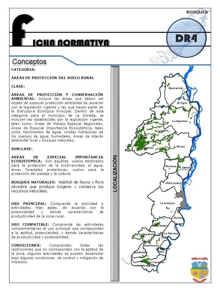 F ICHA NORMATIVA DR4 Conceptos CATEGORIA: ÁREAS DE PROTECCION DEL SUELO RURAL CLASE: ÁREAS DE PROTECCIÓN Y CONSERVACIÓN AMBIENTAL: Incluye las áreas que deben ser objeto de especial protección ambiental de acuerdo con la legislación vigente y las que hacen parte de la Estructura Ecológica Principal.