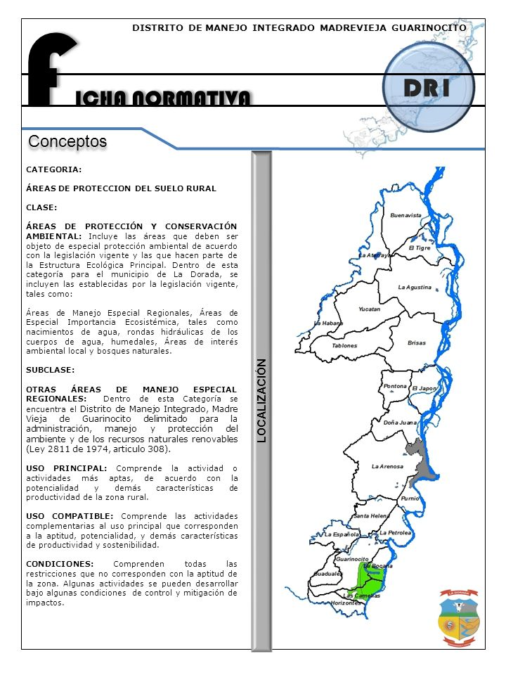 F ICHA NORMATIVA DR1 Conceptos CATEGORIA: ÁREAS DE PROTECCION DEL SUELO RURAL CLASE: ÁREAS DE PROTECCIÓN Y CONSERVACIÓN AMBIENTAL: Incluye las áreas que deben ser objeto de especial protección ambiental de acuerdo con la legislación vigente y las que hacen parte de la Estructura Ecológica Principal.