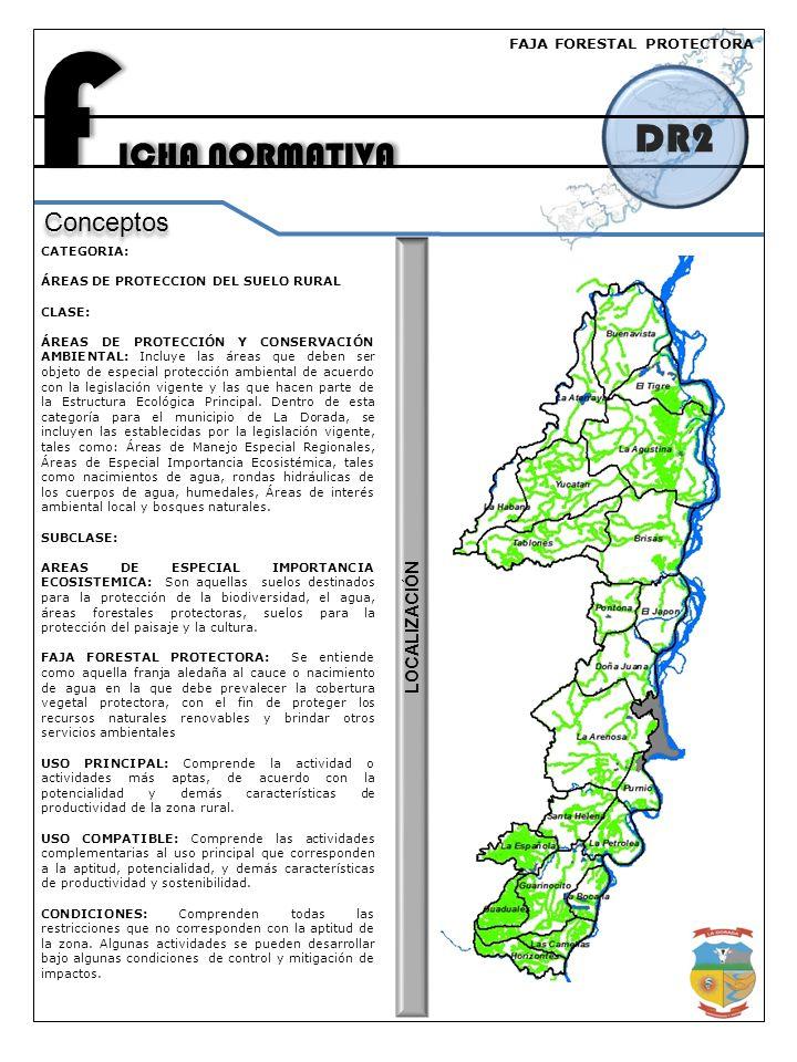 F ICHA NORMATIVA DR2 Conceptos CATEGORIA: ÁREAS DE PROTECCION DEL SUELO RURAL CLASE: ÁREAS DE PROTECCIÓN Y CONSERVACIÓN AMBIENTAL: Incluye las áreas que deben ser objeto de especial protección ambiental de acuerdo con la legislación vigente y las que hacen parte de la Estructura Ecológica Principal.