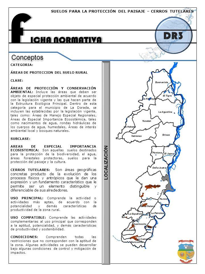 F ICHA NORMATIVA DR6 Conceptos La Dorada un Proyecto Colectivo de Territorio CATEGORIA: ÁREAS DE PROTECCION DEL SUELO RURAL CLASE: ÁREAS DE PROTECCIÓN Y CONSERVACIÓN AMBIENTAL: Incluye las áreas que deben ser objeto de especial protección ambiental de acuerdo con la legislación vigente y las que hacen parte de la Estructura Ecológica Principal.