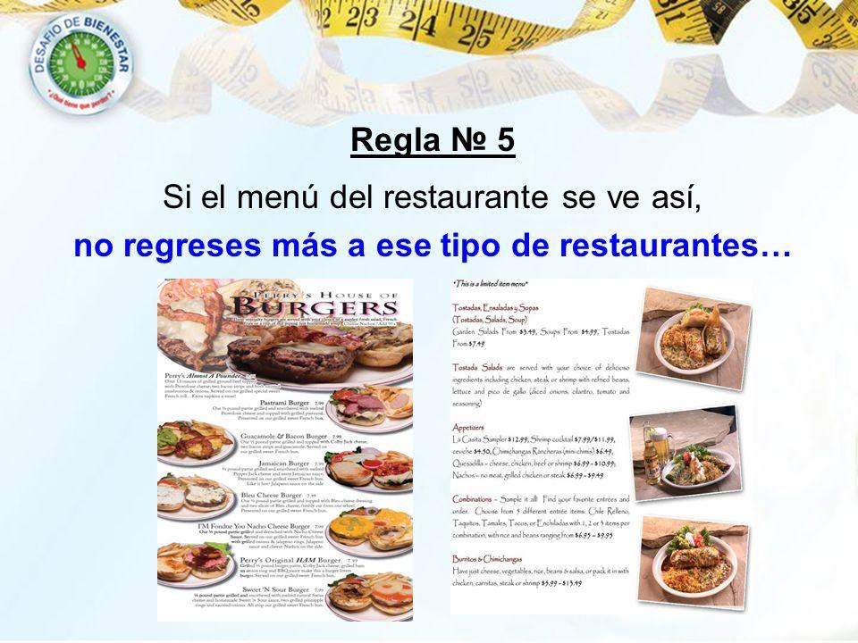 Si el menú del restaurante se ve así, no regreses más a ese tipo de restaurantes… Regla 5