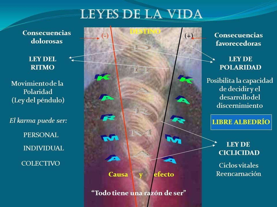 DESTINO Causa y efecto (+)(-) Consecuencias dolorosas Consecuencias favorecedoras LEY DE POLARIDAD LEY DEL RITMO Posibilita la capacidad de decidir y