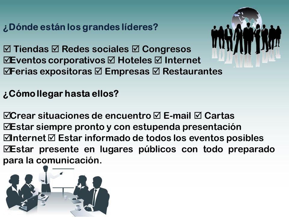 ¿Dónde están los grandes líderes? Tiendas Redes sociales Congresos Eventos corporativos Hoteles Internet Ferias expositoras Empresas Restaurantes ¿Cóm