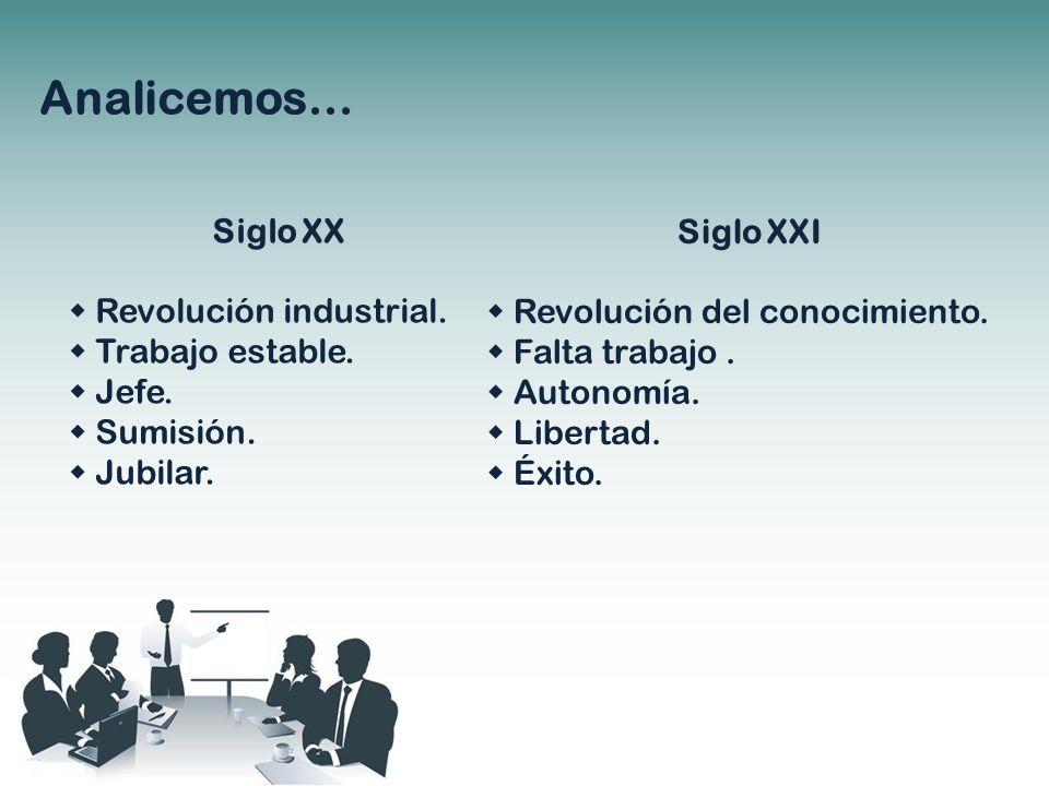 Analicemos… Siglo XX Revolución industrial. Trabajo estable. Jefe. Sumisión. Jubilar. Siglo XXI Revolución del conocimiento. Falta trabajo. Autonomía.