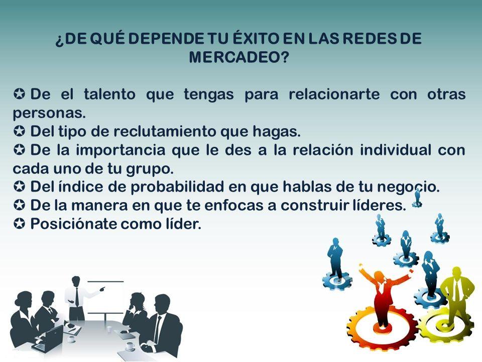 ¿DE QUÉ DEPENDE TU ÉXITO EN LAS REDES DE MERCADEO? De el talento que tengas para relacionarte con otras personas. Del tipo de reclutamiento que hagas.