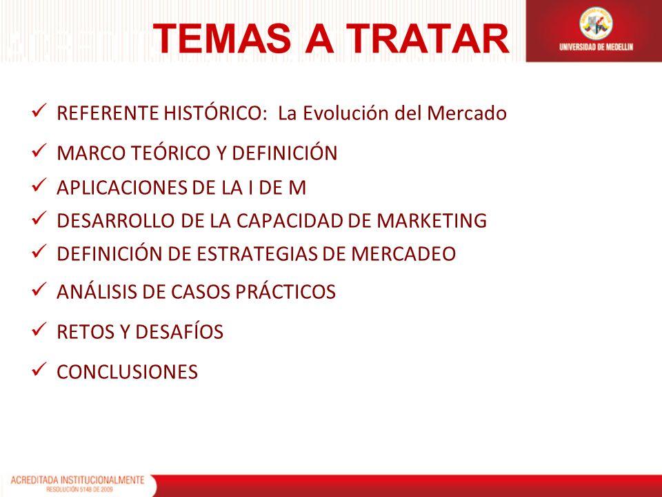 REFERENTE HISTÓRICO: La Evolución del Mercado MARCO TEÓRICO Y DEFINICIÓN APLICACIONES DE LA I DE M DESARROLLO DE LA CAPACIDAD DE MARKETING DEFINICIÓN