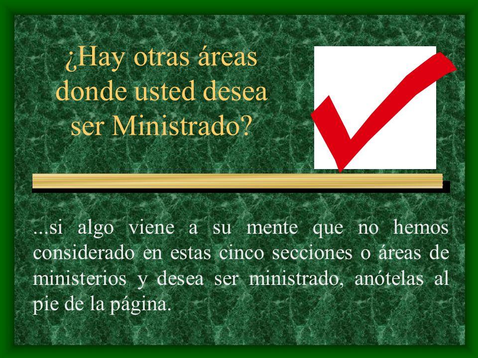 ¿Hay otras áreas donde usted desea ser Ministrado?...si algo viene a su mente que no hemos considerado en estas cinco secciones o áreas de ministerios