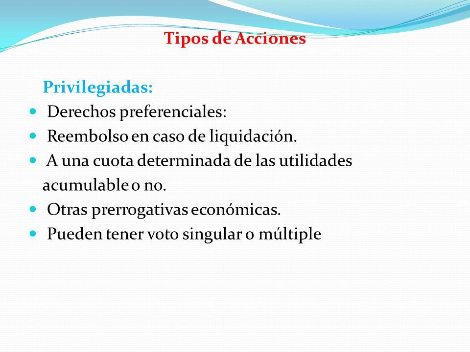 Tipos de Acciones Privilegiadas: Derechos preferenciales: Reembolso en caso de liquidación. A una cuota determinada de las utilidades acumulable o no.