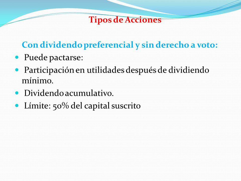Tipos de Acciones Con dividendo preferencial y sin derecho a voto: Puede pactarse: Participación en utilidades después de dividiendo mínimo. Dividendo