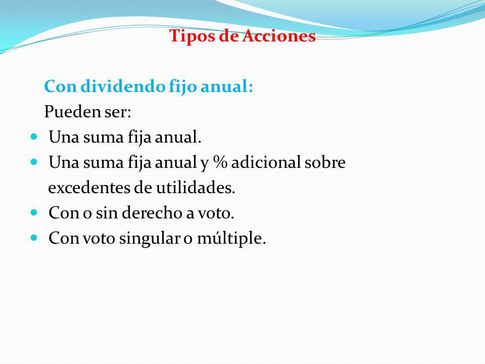 Tipos de Acciones Con dividendo fijo anual: Pueden ser: Una suma fija anual. Una suma fija anual y % adicional sobre excedentes de utilidades. Con o s