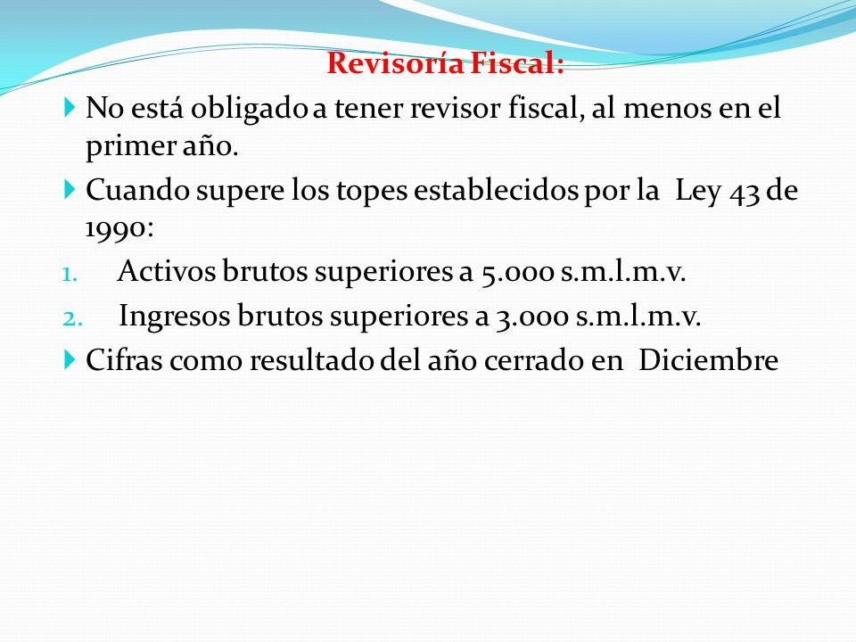 Revisoría Fiscal: No está obligado a tener revisor fiscal, al menos en el primer año. Cuando supere los topes establecidos por la Ley 43 de 1990: 1. A