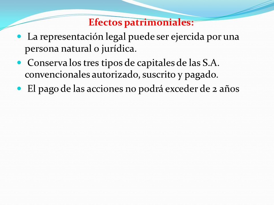 Efectos patrimoniales: La representación legal puede ser ejercida por una persona natural o jurídica. Conserva los tres tipos de capitales de las S.A.