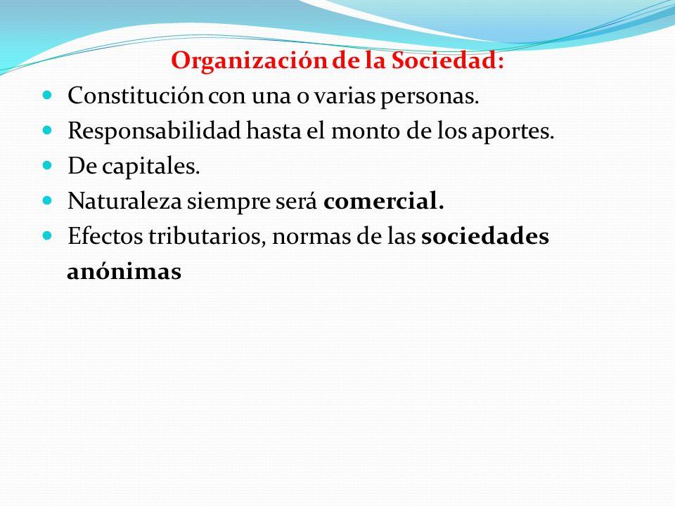 Organización de la Sociedad: Constitución con una o varias personas. Responsabilidad hasta el monto de los aportes. De capitales. Naturaleza siempre s