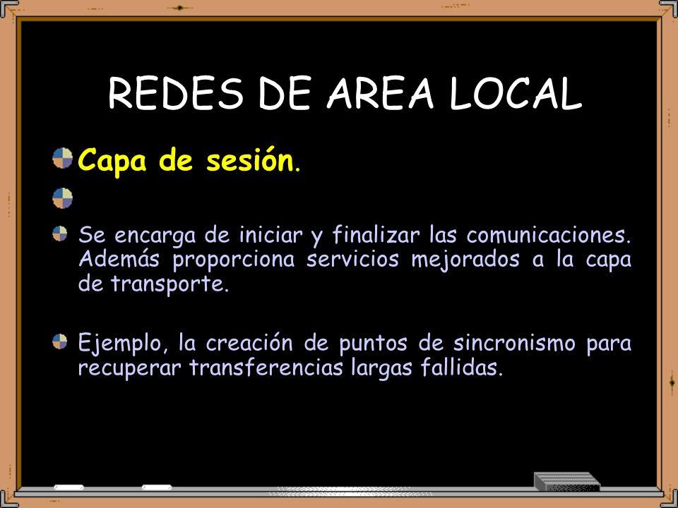 REDES DE AREA LOCAL Capa de sesión. Se encarga de iniciar y finalizar las comunicaciones.