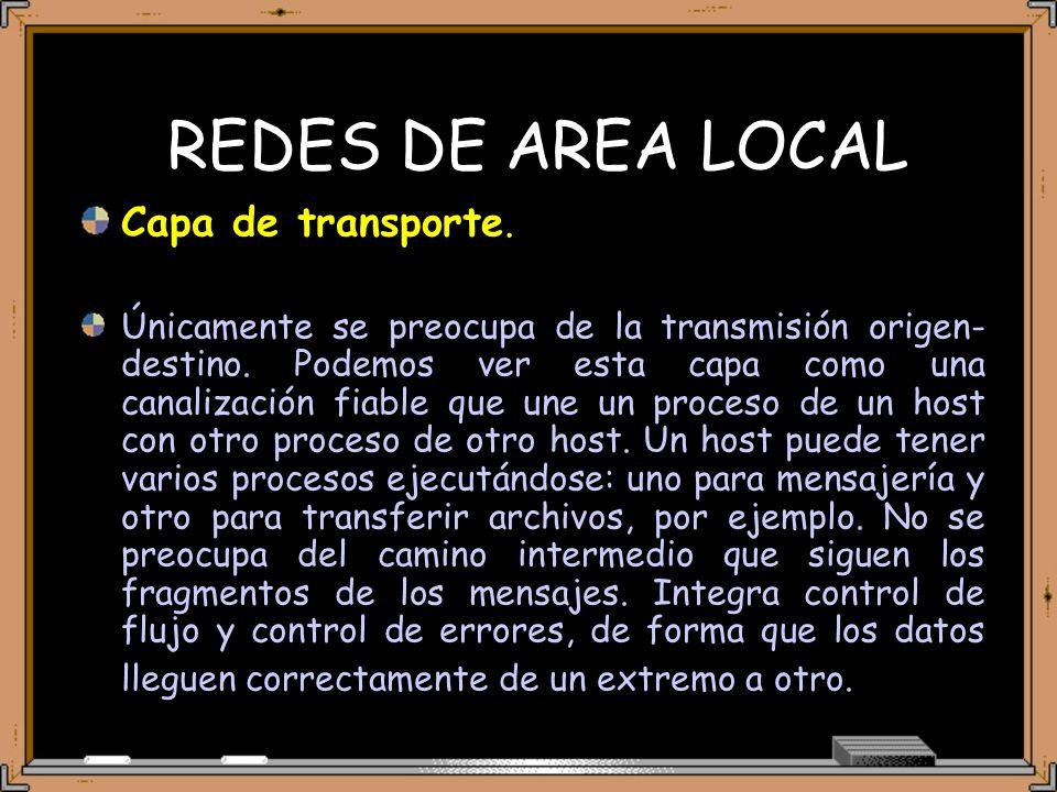 REDES DE AREA LOCAL Capa de transporte. Únicamente se preocupa de la transmisión origen- destino.