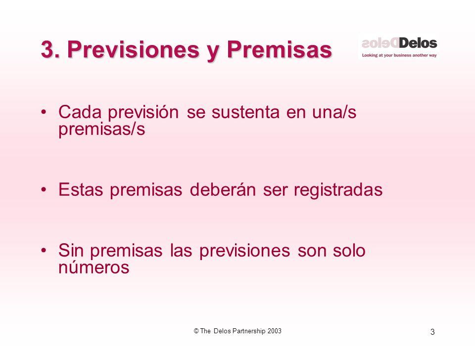 3 © The Delos Partnership 2003 3. Previsiones y Premisas Cada previsión se sustenta en una/s premisas/s Estas premisas deberán ser registradas Sin pre