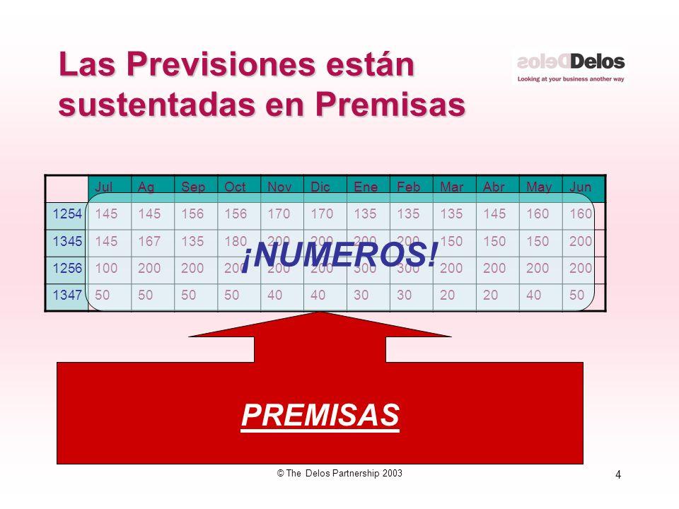 4 © The Delos Partnership 2003 Las Previsiones están sustentadas en Premisas JulAgSepOctNovDicEneFebMarAbrMayJun 1254145 156 170 135 145160 1345145167135180200 150 200 1256100200 300 200 134750 40 30 20 4050 ¡NUMEROS.