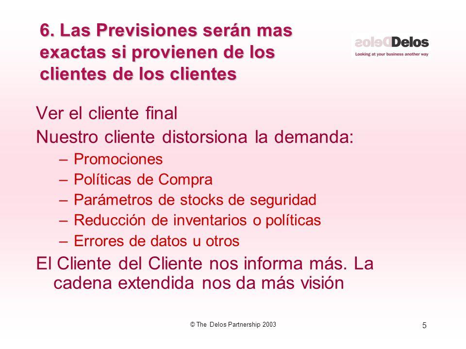 5 © The Delos Partnership 2003 6. Las Previsiones serán mas exactas si provienen de los clientes de los clientes Ver el cliente final Nuestro cliente