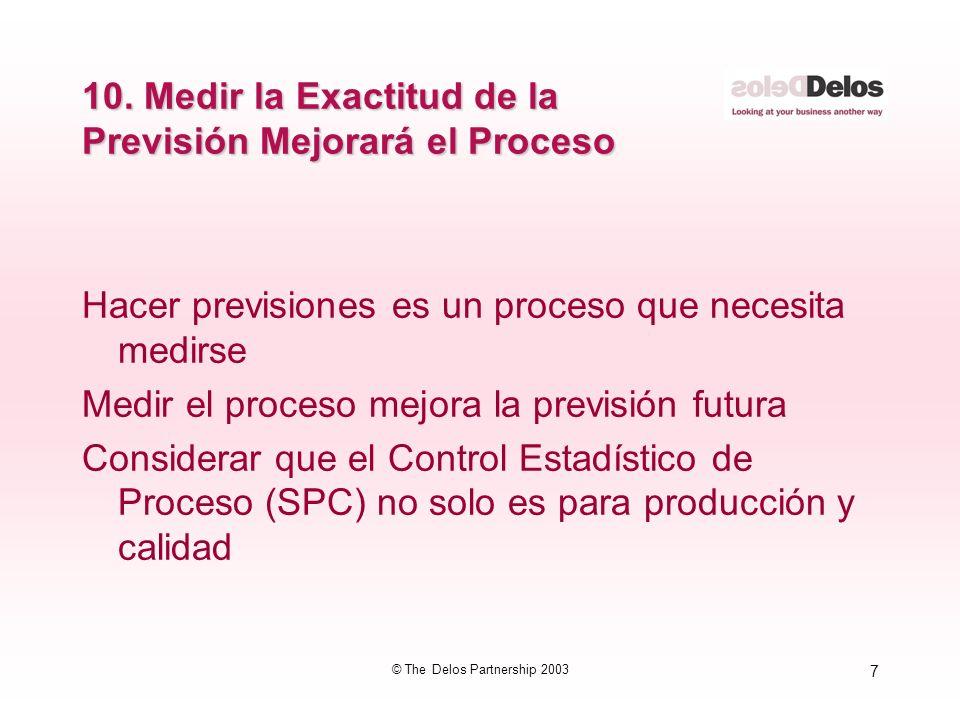 7 © The Delos Partnership 2003 10. Medir la Exactitud de la Previsión Mejorará el Proceso Hacer previsiones es un proceso que necesita medirse Medir e