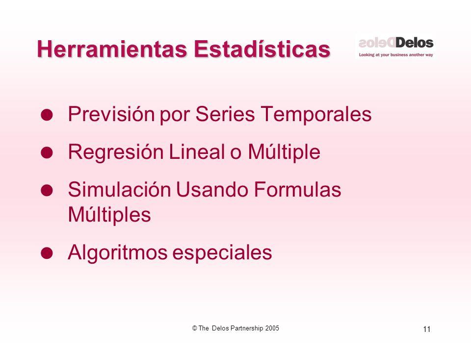 11 © The Delos Partnership 2005 Herramientas Estadísticas Previsión por Series Temporales Regresión Lineal o Múltiple Simulación Usando Formulas Múlti