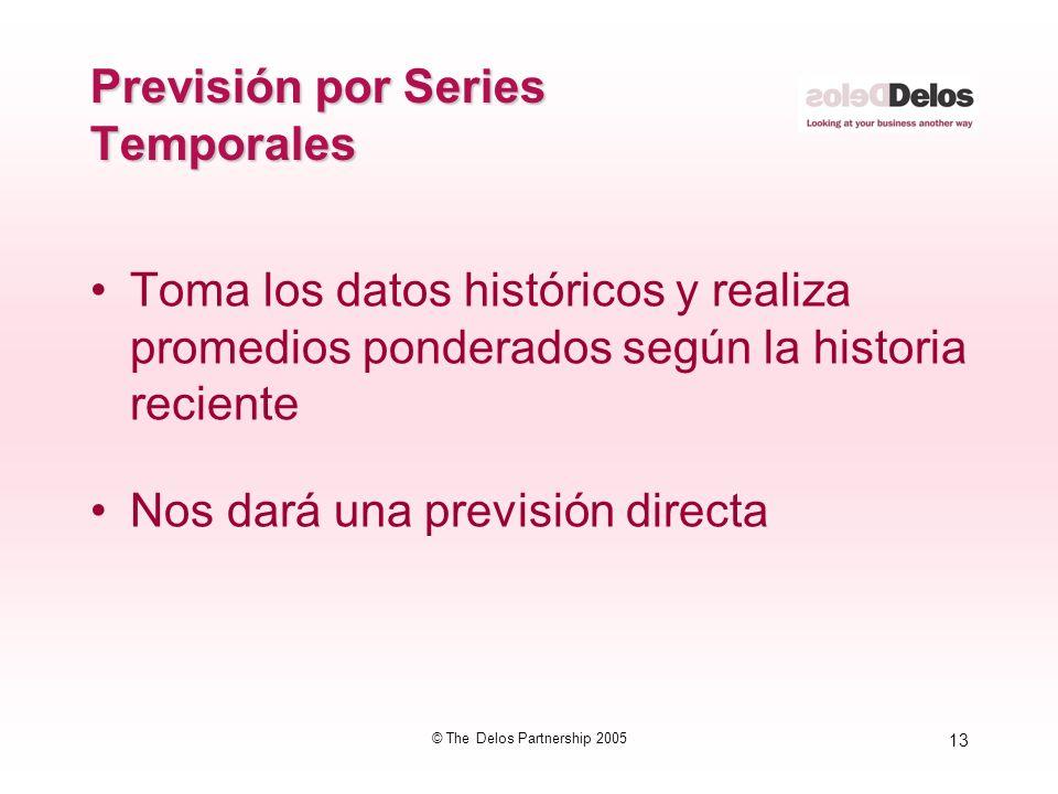 13 © The Delos Partnership 2005 Previsión por Series Temporales Toma los datos históricos y realiza promedios ponderados según la historia reciente No