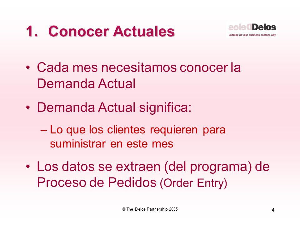 4 © The Delos Partnership 2005 1.Conocer Actuales Cada mes necesitamos conocer la Demanda Actual Demanda Actual significa: –Lo que los clientes requie