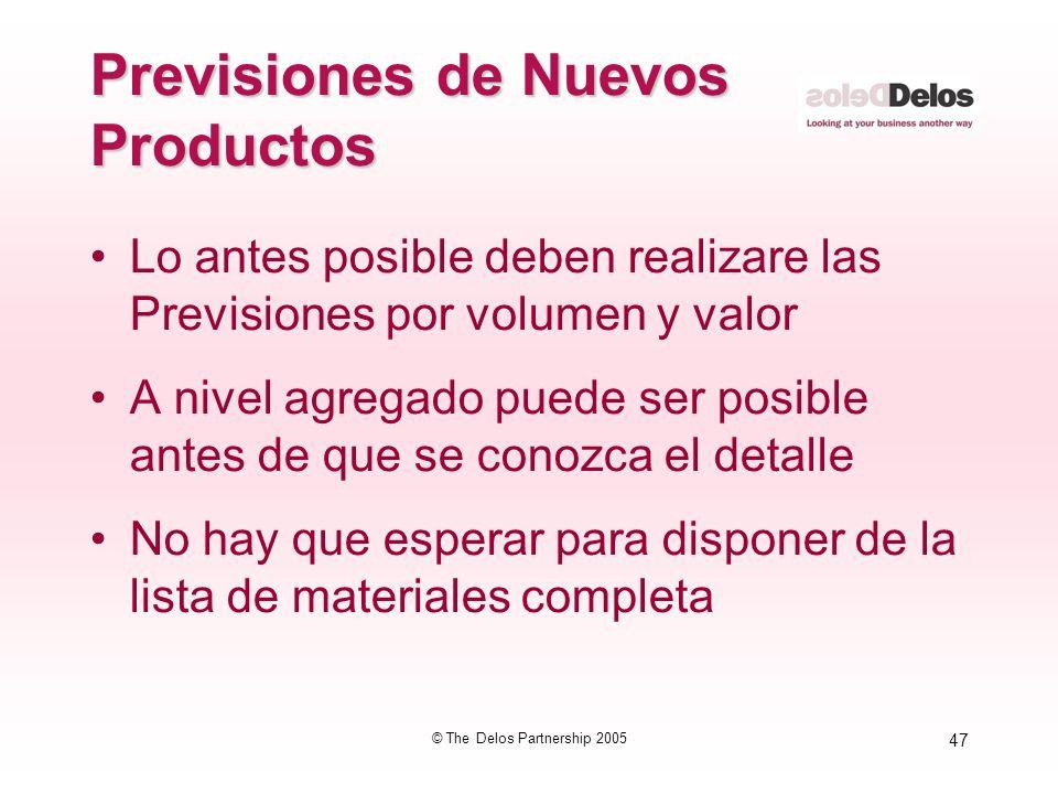 47 © The Delos Partnership 2005 Previsiones de Nuevos Productos Lo antes posible deben realizare las Previsiones por volumen y valor A nivel agregado