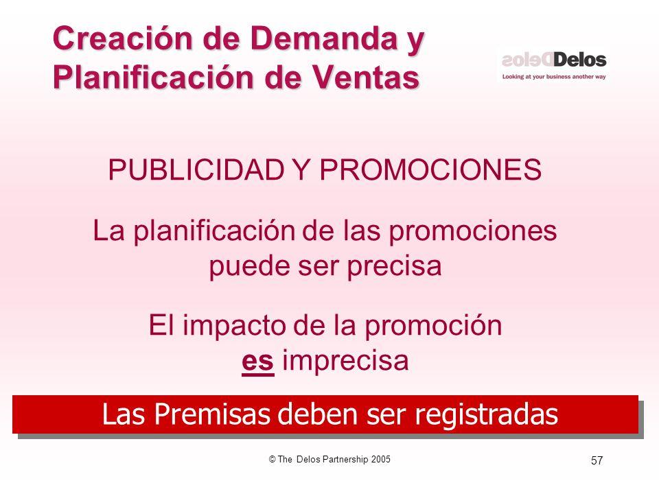 57 © The Delos Partnership 2005 Creación de Demanda y Planificación de Ventas PUBLICIDAD Y PROMOCIONES La planificación de las promociones puede ser p