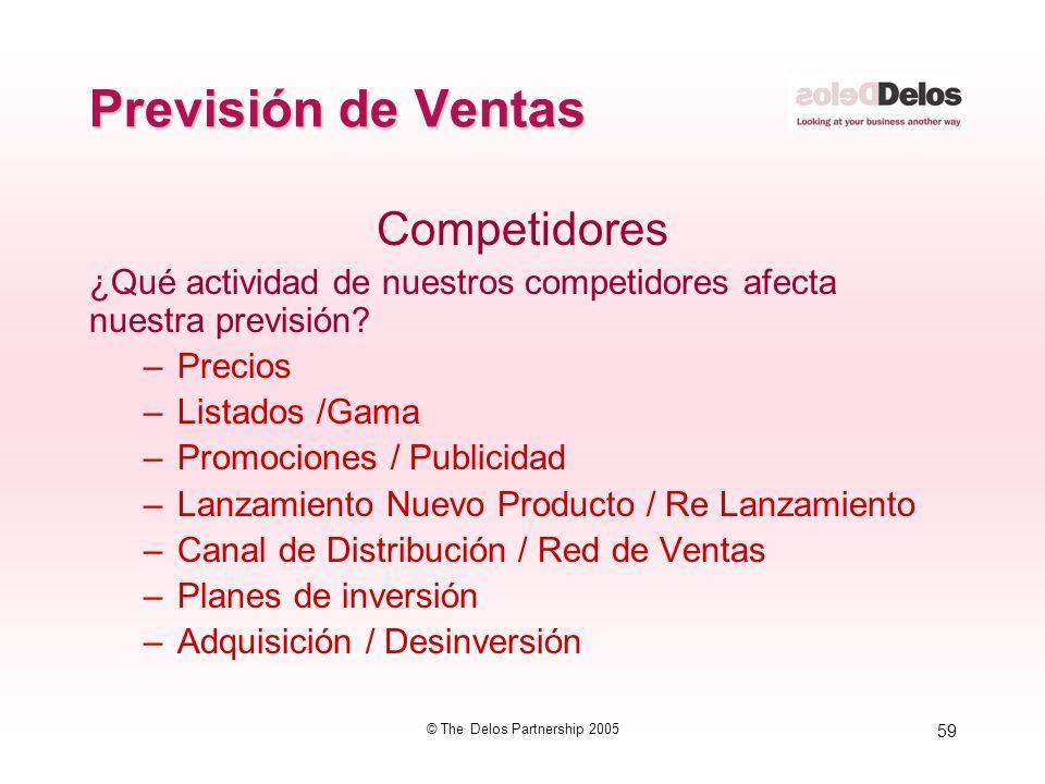 59 © The Delos Partnership 2005 Previsión de Ventas Competidores ¿Qué actividad de nuestros competidores afecta nuestra previsión? –Precios –Listados