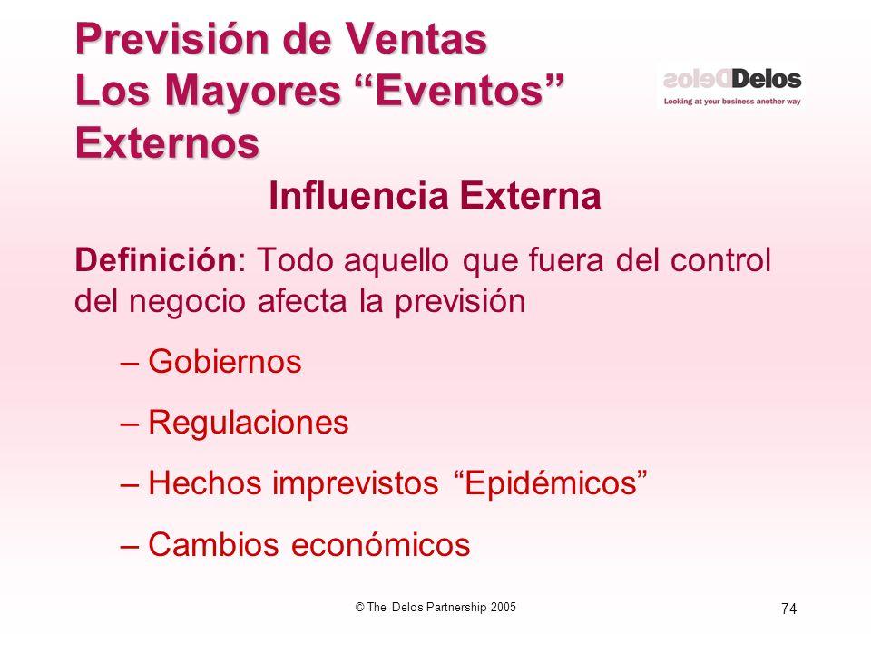 74 © The Delos Partnership 2005 Previsión de Ventas Los Mayores Eventos Externos Influencia Externa Definición: Todo aquello que fuera del control del