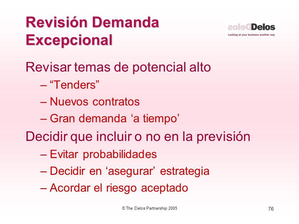 76 © The Delos Partnership 2005 Revisión Demanda Excepcional Revisar temas de potencial alto –Tenders –Nuevos contratos –Gran demanda a tiempo Decidir