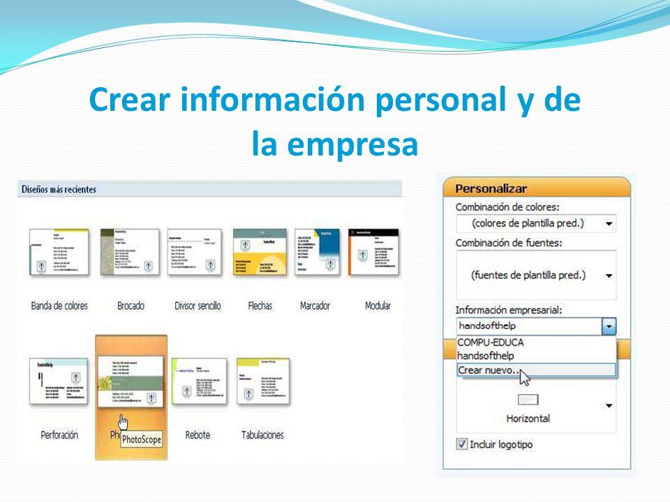 Crear información personal y de la empresa