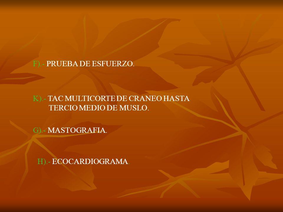 F).- PRUEBA DE ESFUERZO. K).- TAC MULTICORTE DE CRANEO HASTA TERCIO MEDIO DE MUSLO. G).- MASTOGRAFIA. H).- ECOCARDIOGRAMA.