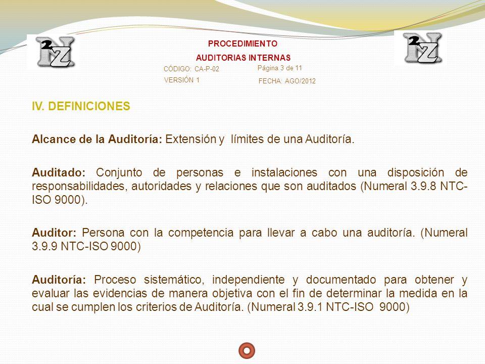 IV. DEFINICIONES Alcance de la Auditoría: Extensión y límites de una Auditoría. Auditado: Conjunto de personas e instalaciones con una disposición de