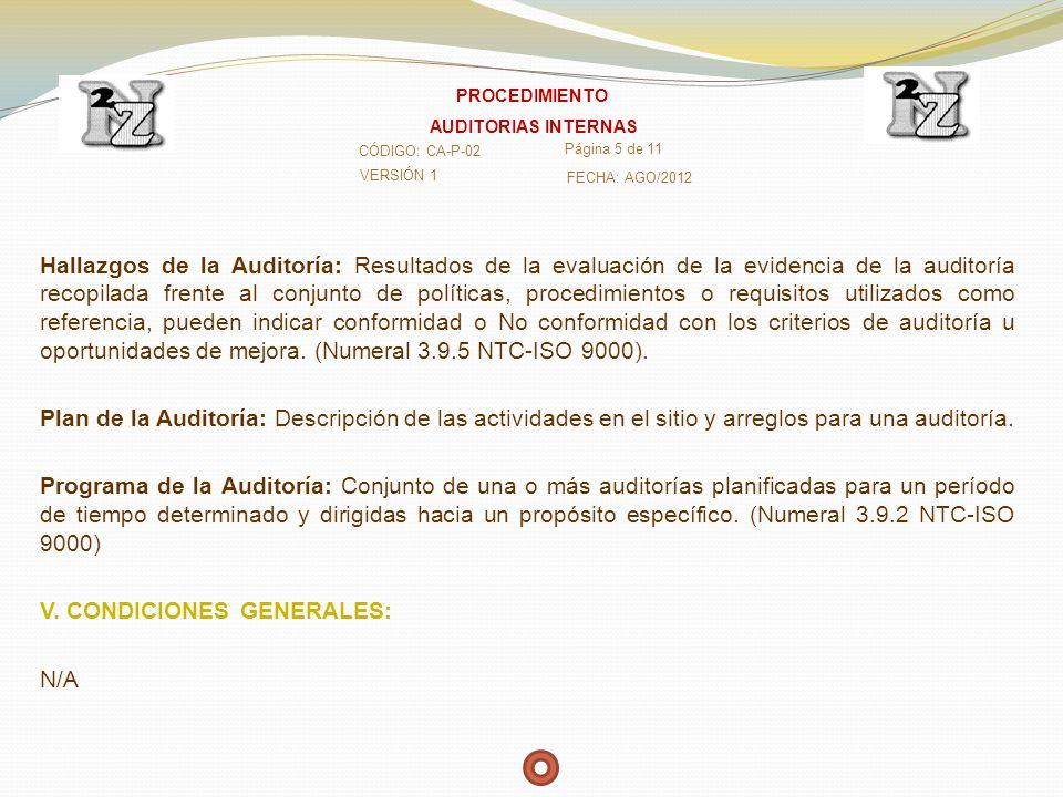 Hallazgos de la Auditoría: Resultados de la evaluación de la evidencia de la auditoría recopilada frente al conjunto de políticas, procedimientos o re